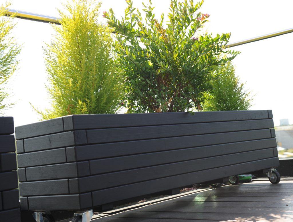 Frøperspektiv af sort Hjalmar plantekasse på hjul
